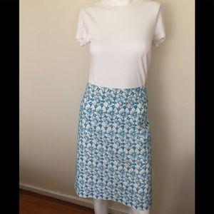 Talbots white & turquoise linen eyelet skirt